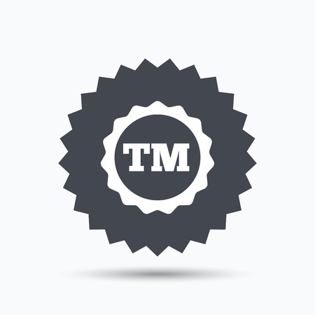 tm: Registered TM trademark icon. Intellectual work protection symbol. Gray star button with flat web icon. Vector Illustration