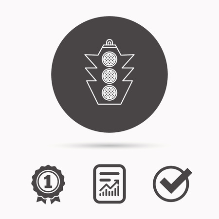 regulate: Traffic light icon. Safety direction regulate sign. Report document, winner award and tick. Round circle button with icon. Vector