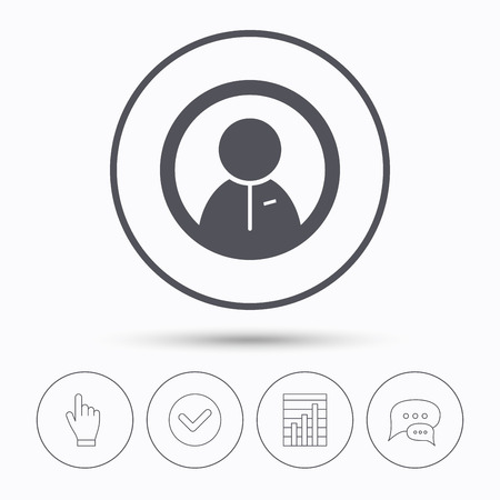 friend chart: User icon. Human person symbol. Chat speech bubbles. Check tick, report chart and hand click. Linear icons. Vector