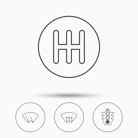 heated: Traffic lights, manual gearbox and wiper icons. Heated window, manual transmission linear signs. Washing window icon. Linear icons in circle buttons. Flat web symbols. Vector