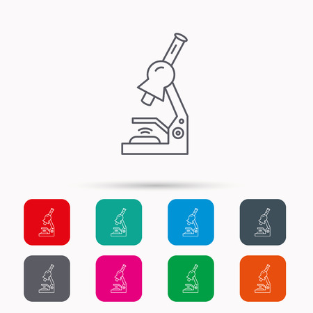histology: Microscope icon. Medical laboratory equipment sign. Pathology or scientific symbol. Linear icons in squares on white background. Flat web symbols. Vector
