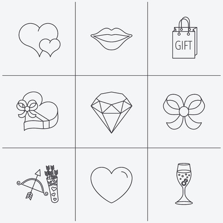 brilliant heart: Love heart, brilliant and engagement ring icons. Bow, smile and gift box linear signs. Valentine amour arrows flat line icons. Linear icons on white background. Vector