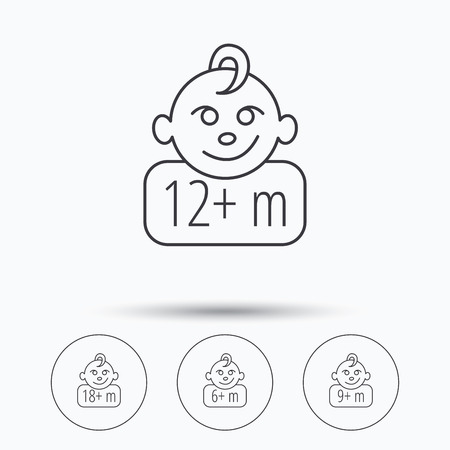 6 9 months: Infant child and toddler baby icons. 6-18 months child linear sign. Linear icons in circle buttons. Flat web symbols. Vector Illustration