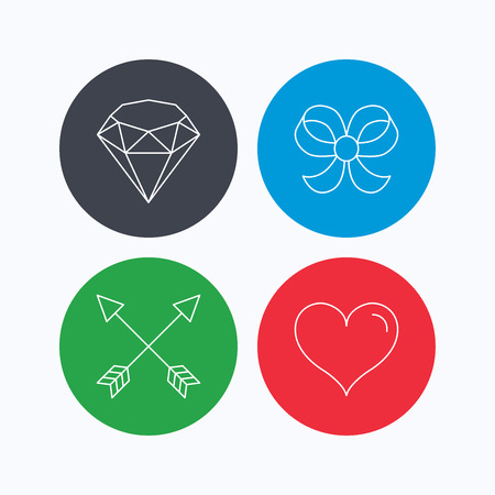 brilliant heart: Love heart, brilliant and bow-knot icons. Arrows linear signs. Linear icons on colored buttons. Flat web symbols. Vector Illustration