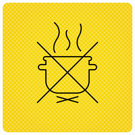 do cooking: Boiling saucepan icon. Do not boil water sign. Cooking manual attenction symbol. Linear icon on orange background. Vector