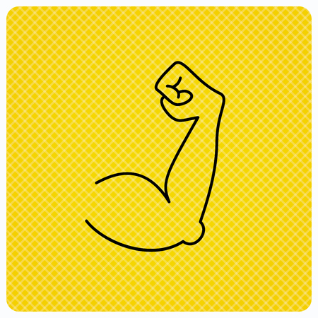 Biceps muscle icon. Bodybuilder strong arm sign. Weightlifting fitness symbol. Linear icon on orange background. Vector Illustration