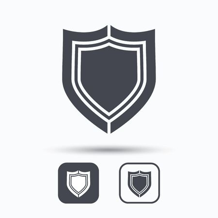 defense: Shield protection icon. Defense equipment symbol. Square buttons with flat web icon on white background. Vector