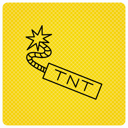 TNT dynamite icon. Bomb explosion sign. Linear icon on orange background. Vector Illustration