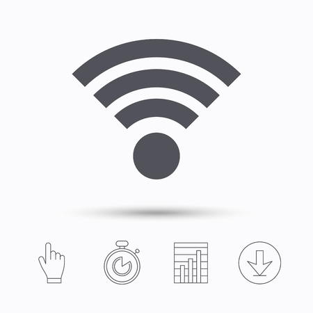 time sharing: Wifi icon. Wireless internet sign. Communication technology symbol. Stopwatch timer. Hand click, report chart and download arrow. Linear icons. Vector