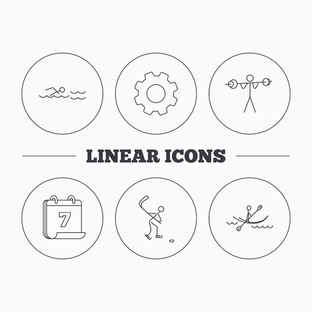 black white kayak: Swimming, hockey and kayaking icons. Weightlifting linear sign. Flat cogwheel and calendar symbols. Linear icons in circle buttons. Vector
