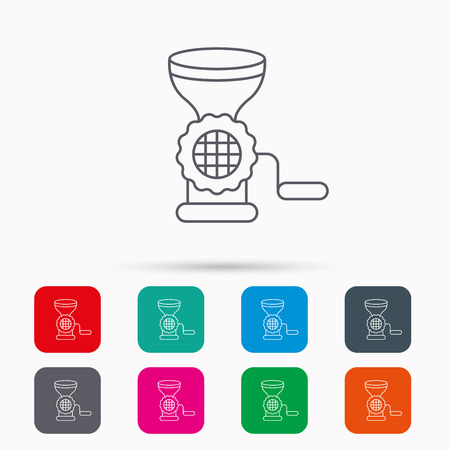 meat chopper: Meat grinder icon. Manual mincer sign. Kitchen tool symbol. Linear icons in squares on white background. Flat web symbols. Vector