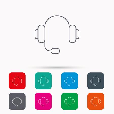 Kopfhörer Mit Mikrofon-Symbol. Musiknoten Zeichen. Linear-Symbol Auf ...