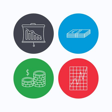 deceleration: Chart, cash money and statistics icons. Coins linear sign. Linear icons on colored buttons. Flat web symbols. Vector