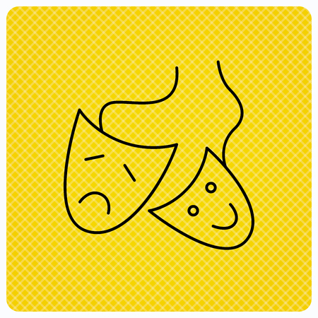 Theater masks icon. Drama and comedy sign. Masquerade or carnival symbol. Linear icon on orange background. Vector