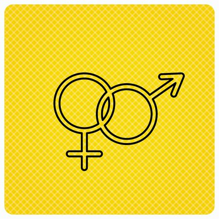 Male and female icon. Traditional sexuality sign. Linear icon on orange background. Vector