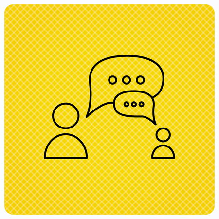 Dialog icon. Chat speech bubbles sign. Discussion messages symbol. Linear icon on orange background. Vector