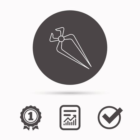nippers: Nippers icon. Repairing service tool sign. Report document, winner award and tick. Round circle button with icon. Vector Illustration