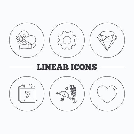 brilliant heart: Love heart, brilliant and gift box icons. Amour bow with arrows linear signs. Flat cogwheel and calendar symbols. Linear icons in circle buttons. Vector