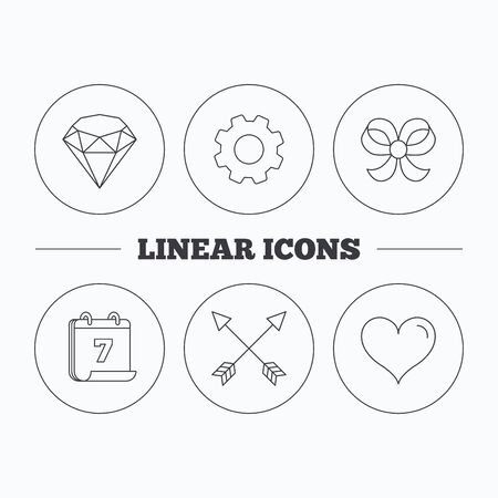 brilliant heart: Love heart, brilliant and bow-knot icons. Arrows linear signs. Flat cogwheel and calendar symbols. Linear icons in circle buttons. Vector