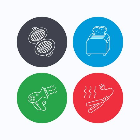 bread maker: Curling iron, hair-dryer and toaster icons. Waffle-iron linear sign. Linear icons on colored buttons. Flat web symbols. Vector