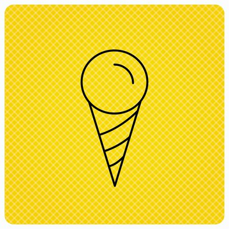 frozen food: Ice cream icon. Sweet dessert in waffle cone sign. Frozen food symbol. Linear icon on orange background. Vector