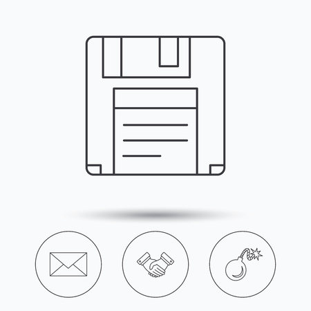 email bomb: Mail, bomb and handshake icons. Floppy disk linear sign. Linear icons in circle buttons. Flat web symbols. Vector