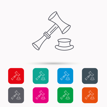 auctioneer: Auction hammer icon. Justice and law sign. Linear icons in squares on white background. Flat web symbols. Vector Illustration