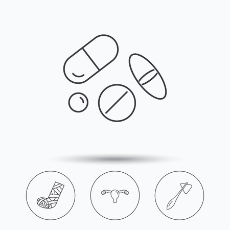 gynaecology: Hammer, broken leg and medical pills icons. Uterus and ovary linear sign. Linear icons in circle buttons. Flat web symbols. Vector Illustration