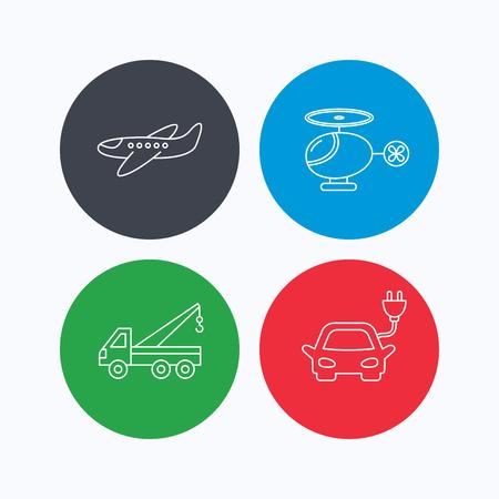 planos electricos: coches eléctricos, aviones y helicópteros iconos. Extractor de señal lineal. iconos lineales en los botones de colores. símbolos web planas. Vector Vectores
