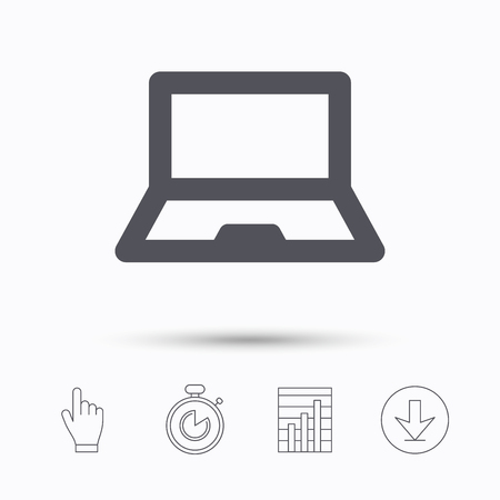 Computer icon. Notebook or laptop pc symbol. Stopwatch timer. Hand click, report chart and download arrow. Linear icons. Vector