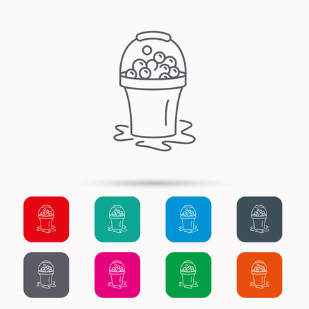 soapy: Soapy cleaning icon. Bucket with foam and bubbles sign. Linear icons in squares on white background. Flat web symbols. Vector