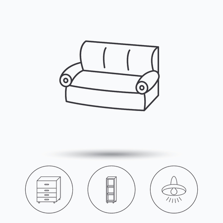 shelving: Sofa, ceiling lamp and shelving icons. Chest of drawers linear sign. Linear icons in circle buttons. Flat web symbols. Vector