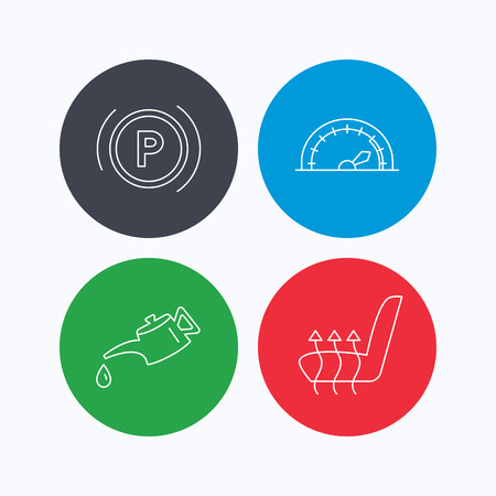 heated: Motor oil, parking and speedometer icons. Heated seats linear sign. Linear icons on colored buttons. Flat web symbols. Vector