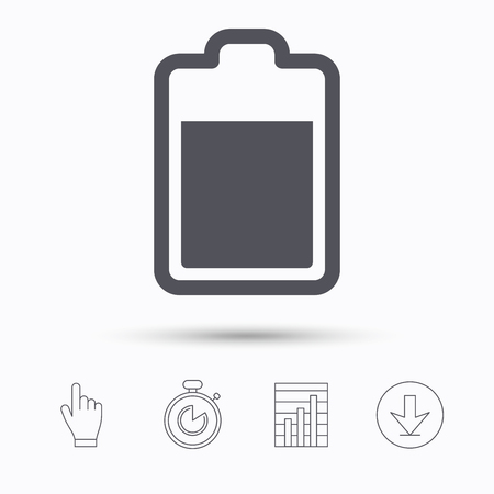 accumulator: Battery power icon. Charging accumulator symbol. Stopwatch timer. Hand click, report chart and download arrow. Linear icons. Vector