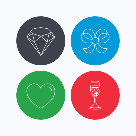 brilliant heart: Love heart, brilliant and engagement ring icons. Bow-knot linear sign. Linear icons on colored buttons. Flat web symbols. Vector Illustration
