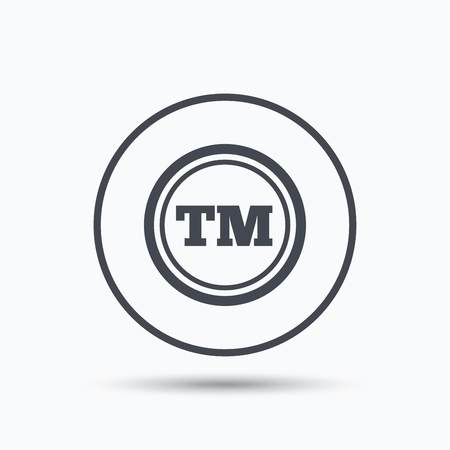 tm: Registered TM trademark icon. Intellectual work protection symbol. Circle button with flat web icon on white background. Vector