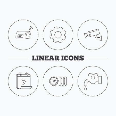 water supply: Water supply, video camera and mailbox icons. Radiator with regulator linear sign. Flat cogwheel and calendar symbols. Linear icons in circle buttons. Vector