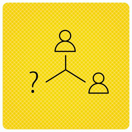 Vacancy or hire job icon. Teamwork sign. Question mark symbol. Linear icon on orange background. Vector