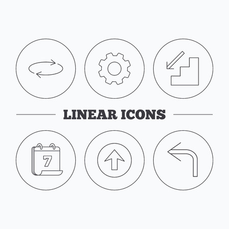 shuffle: Arrows icons. Upload, repeat and shuffle linear signs. Turn left, downstairs arrow flat line icons. Flat cogwheel and calendar symbols. Linear icons in circle buttons. Vector Illustration