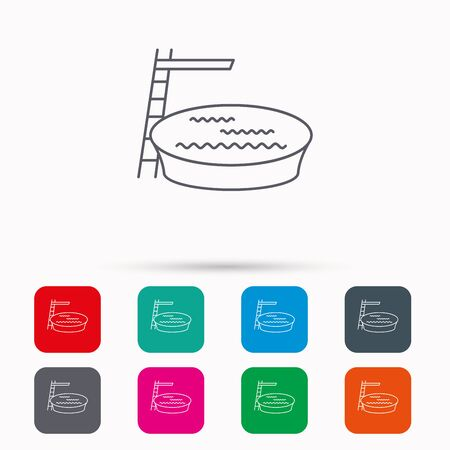 jumping into water: Swimming pool icon. Jumping into water sign. Linear icons in squares on white background. Flat web symbols. Vector