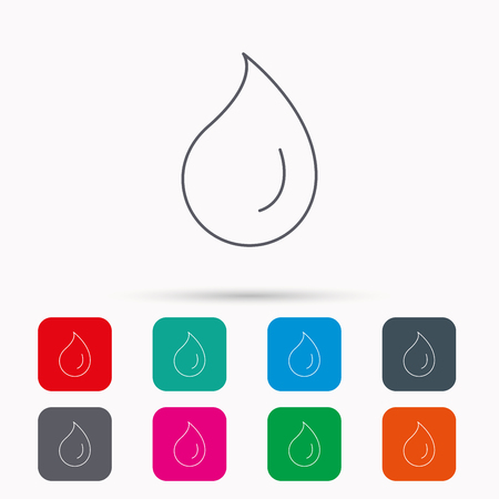 condensation: Water drop icon. Liquid sign. Freshness, condensation or washing symbol. Linear icons in squares on white background. Flat web symbols. Vector