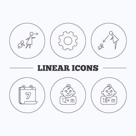 Unattended, parents supervision and 12 months child icons. 18+ months child linear sign. Flat cogwheel and calendar symbols. Linear icons in circle buttons. Vector  イラスト・ベクター素材