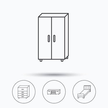 chest of drawers: Single bed, TV table and cupboard icons. Chest of drawers linear sign. Linear icons in circle buttons. Flat web symbols. Vector