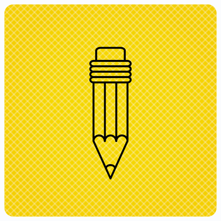 Pencil icon. Drawing tool sign. Linear icon on orange background. Vector