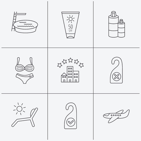 sun cream: Hotel, swimming pool and beach deck chair icons. Sun cream, do not disturb and clean room linear signs. Shampoo and airplane icons. Linear icons on white background. Vector Illustration