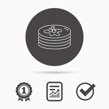 Pancakes icon. American breakfast sign. Food with maple syrup symbol. Report document, winner award and tick. Round circle button with icon. Vector