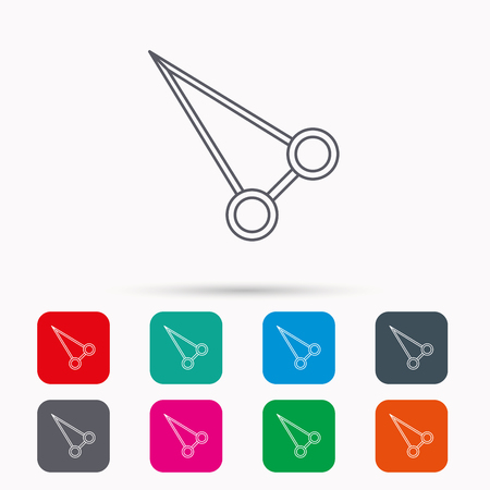 Pean forceps icon. Medical surgery tool sign. Linear icons in squares on white background. Flat web symbols. Vector