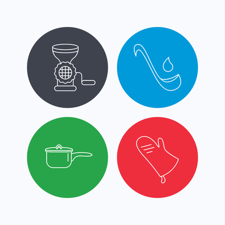 meat grinder: Soup ladle, potholder and kitchen utensils icons. Meat grinder and saucepan linear signs. Linear icons on colored buttons. Flat web symbols. Vector