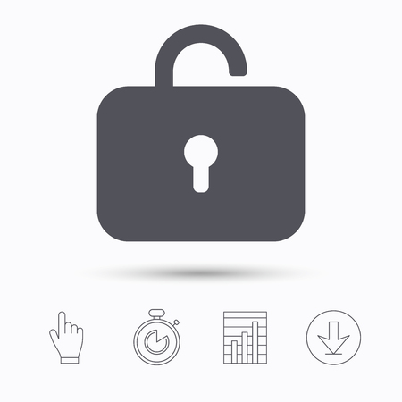 private access: Lock icon. Privacy locker sign. Private access symbol. Stopwatch timer. Hand click, report chart and download arrow. Linear icons. Vector