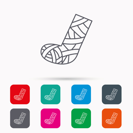 web cast: Gypsum or cast foot icon. Broken leg sign. Human recovery medicine symbol. Linear icons in squares on white background. Flat web symbols. Vector